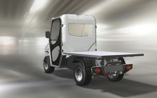 Electric golf cars with flat cargo bed and half-cab