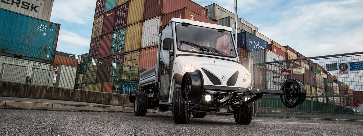 Electric utility vehicles ATX with rail system - Logistic centre