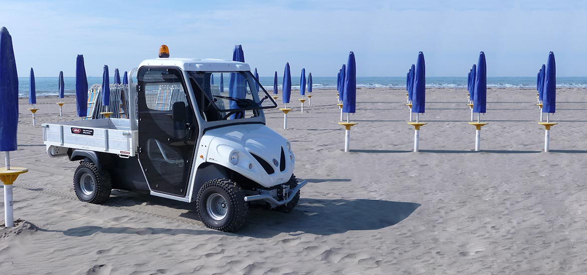 Electric vehicles for holiday villages - Vehicles for beaches, campings, dirt roads