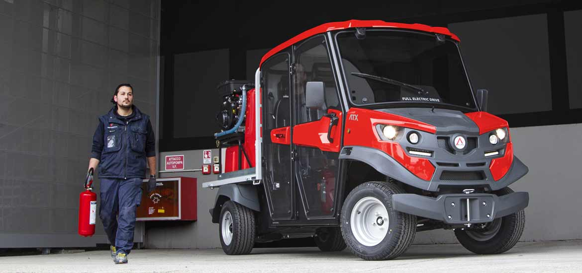 Fire-fighter utility vehicles with electric traction