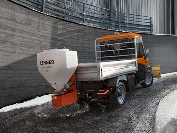 Vehicle with salt spreader