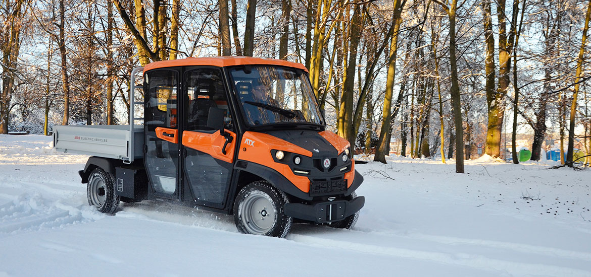 Electric offroad utv on snow and ice