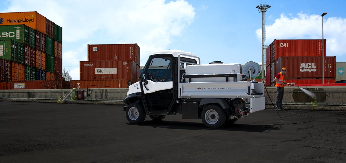 Electric vehicles with pressure washer or sprayer - For street cleaning and maintenance of green areas