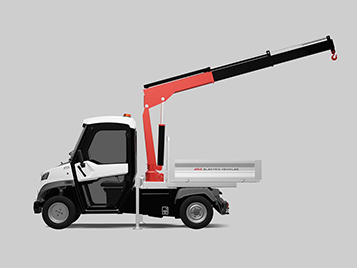 Electric vehicle with crane