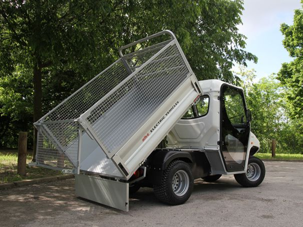 cargo bed with steel mesh sides for waste collection