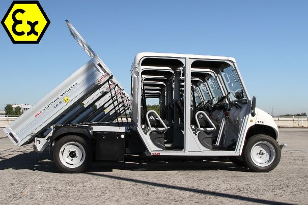 Flame-Proof electric vehicles 4 seater with tipping system and 1,350 kg loading capacity