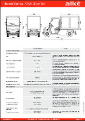 technical specifications of the Alkè ATX210E van with closed box