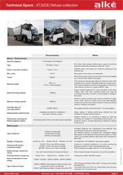 Technical Specs refuse collection vehicle Alke' XT320E