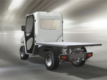 electric vehicle with flat cargo bed