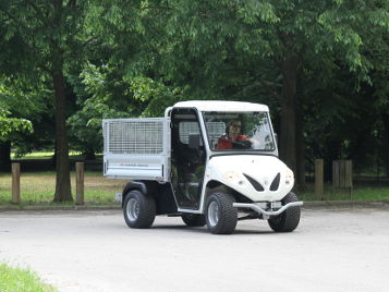 electric vehicle with steel mesh sides for beach