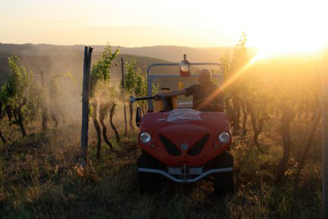 vineyard tractor in Tuscany