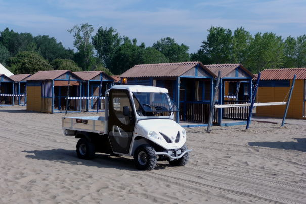 electric vehicle on sand