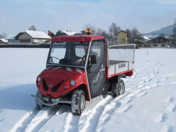electric vehicle on snow